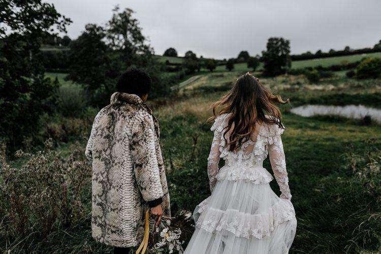Modern Bride in Lace KATYA KATYA Wedding Dress and Groom in Faux Fur Coat