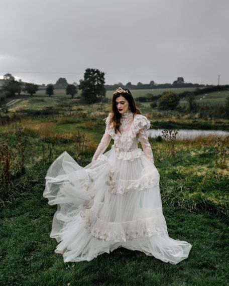 Modern Bride in Edwardian Style Wedding Dress with High Neck Detail