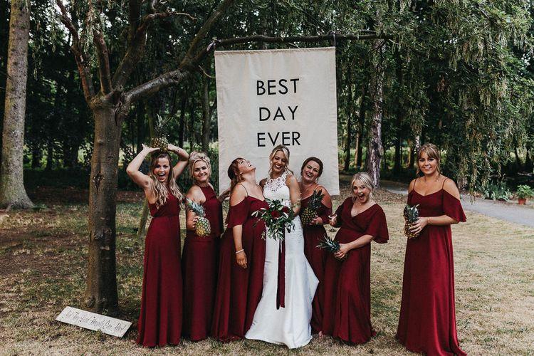 Dark Red Burgundy Bridesmaids Dresses From Rewritten / Image by Kev Elkins Wedding Photography