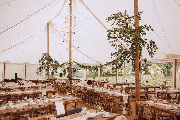 Back Garden Tent Wedding with Greenery Wedding Decor