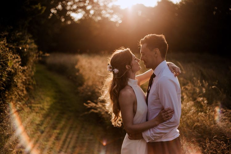 Golden Hour Portrait with Bride in Ted Baker Jumpsuit