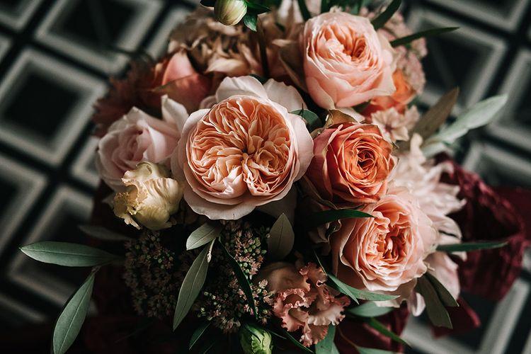 Peach David Austin Rose Wedding Bouquet | Peach Wedding at Swanton Morley House and Gardens in Norfolk |  Jason Mark Harris Photography | Together we Roam Films