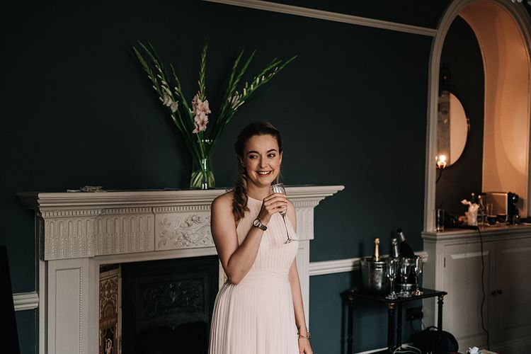 Bridesmaid in Peach ASOS Dress | Peach Wedding at Swanton Morley House and Gardens in Norfolk |  Jason Mark Harris Photography | Together we Roam Films