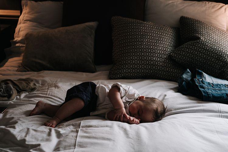 Sleeping Baby | Peach Wedding at Swanton Morley House and Gardens in Norfolk |  Jason Mark Harris Photography | Together we Roam Films