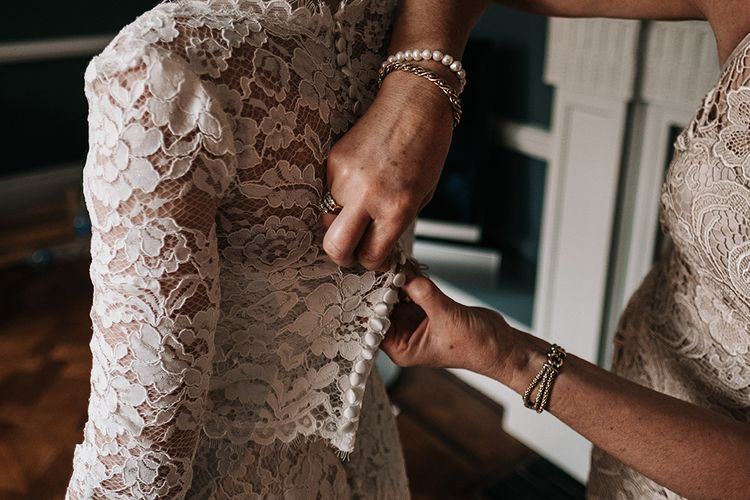 Lace Wedding Dress and Jacket | Peach Wedding at Swanton Morley House and Gardens in Norfolk |  Jason Mark Harris Photography | Together we Roam Films