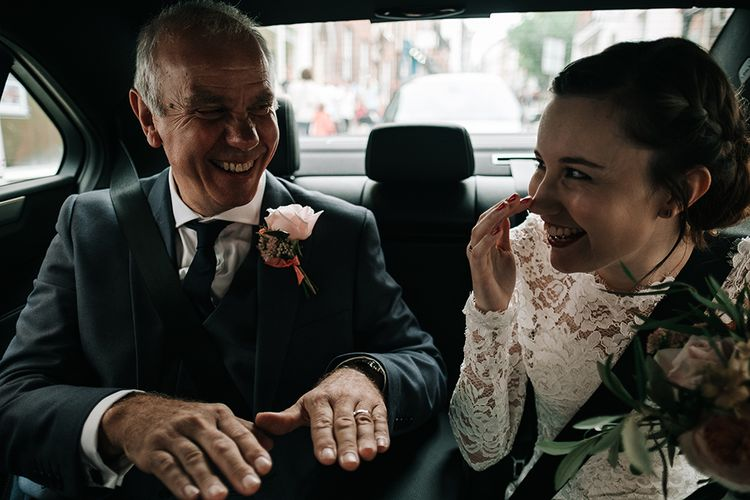 Father of the Bride & Bride Wedding Car | Peach Wedding at Swanton Morley House and Gardens in Norfolk |  Jason Mark Harris Photography | Together we Roam Films