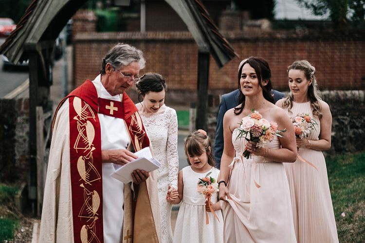 Bridal Party Church Entrance | Peach Wedding at Swanton Morley House and Gardens in Norfolk |  Jason Mark Harris Photography | Together we Roam Films
