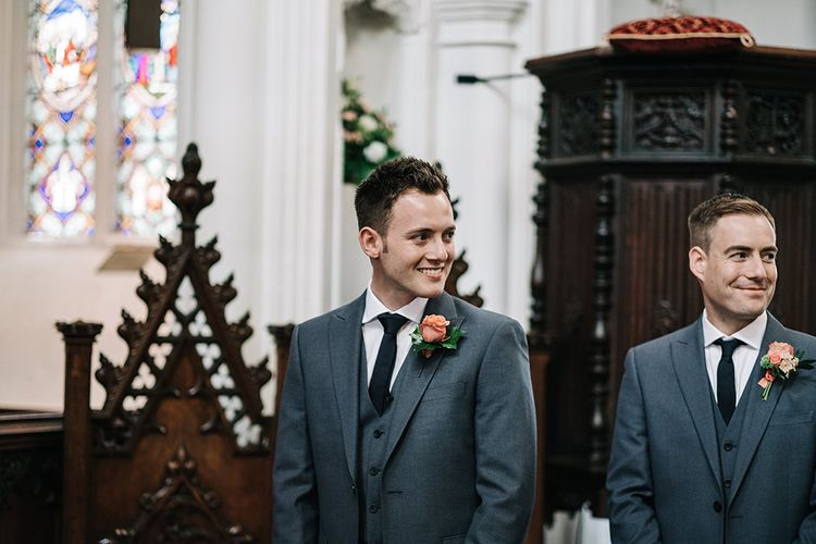 Groom at the Altar in Next Suit | Peach Wedding at Swanton Morley House and Gardens in Norfolk |  Jason Mark Harris Photography | Together we Roam Films