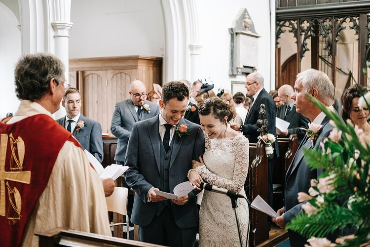 Church Wedding Ceremony | Bride in Lace Wedding Dress | Groom in  Next Suit | Peach Wedding at Swanton Morley House and Gardens in Norfolk |  Jason Mark Harris Photography | Together we Roam Films