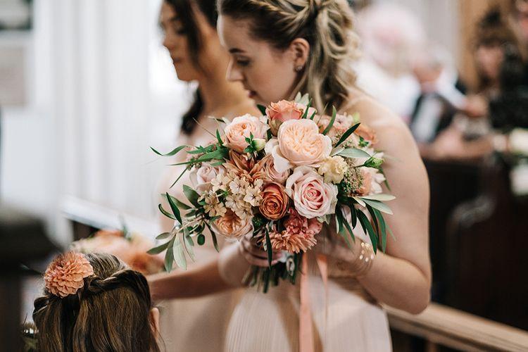 Peach Dahlia & David Austin Rose Bouquet | Peach Wedding at Swanton Morley House and Gardens in Norfolk |  Jason Mark Harris Photography | Together we Roam Films