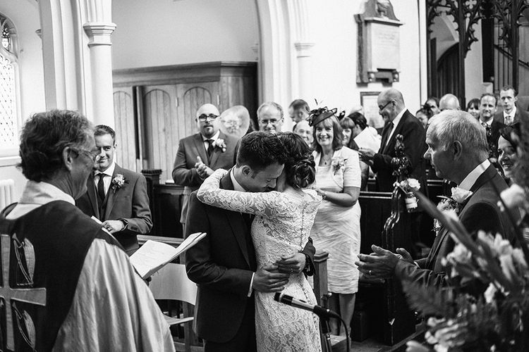 Church Wedding Ceremony | Bride in Lace Gown | Groom in Next Suit | Peach Wedding at Swanton Morley House and Gardens in Norfolk |  Jason Mark Harris Photography | Together we Roam Films