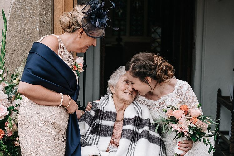 Family Portrait | Bride in Lace Gown | Peach Wedding at Swanton Morley House and Gardens in Norfolk |  Jason Mark Harris Photography | Together we Roam Films
