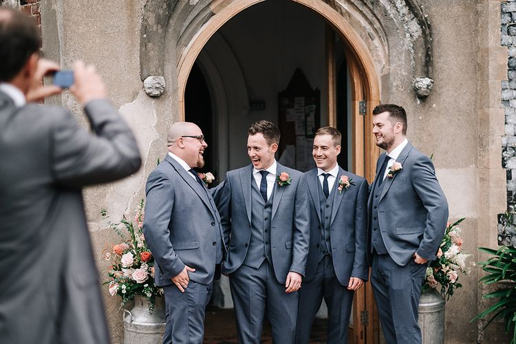 Groomsmen in Next Suits | Peach Wedding at Swanton Morley House and Gardens in Norfolk |  Jason Mark Harris Photography | Together we Roam Films