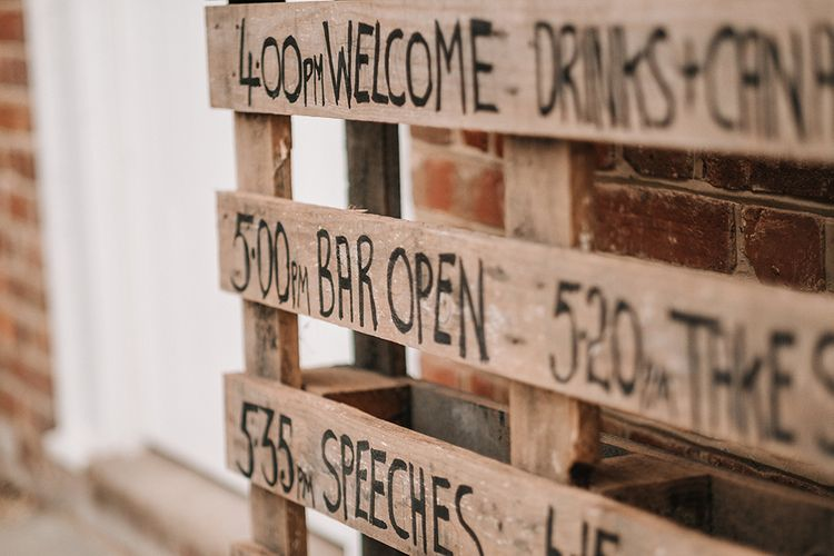 Wooden Palette Order of the Day Sign | Peach Wedding at Swanton Morley House and Gardens in Norfolk |  Jason Mark Harris Photography | Together we Roam Films