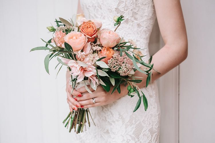 Romantic Peach Bridal Bouquet with Dahlias & Roses | Peach Wedding at Swanton Morley House and Gardens in Norfolk |  Jason Mark Harris Photography | Together we Roam Films