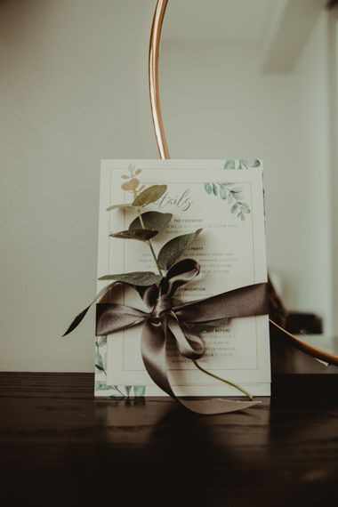 Green and White Wedding Stationery Tied with Ribbon