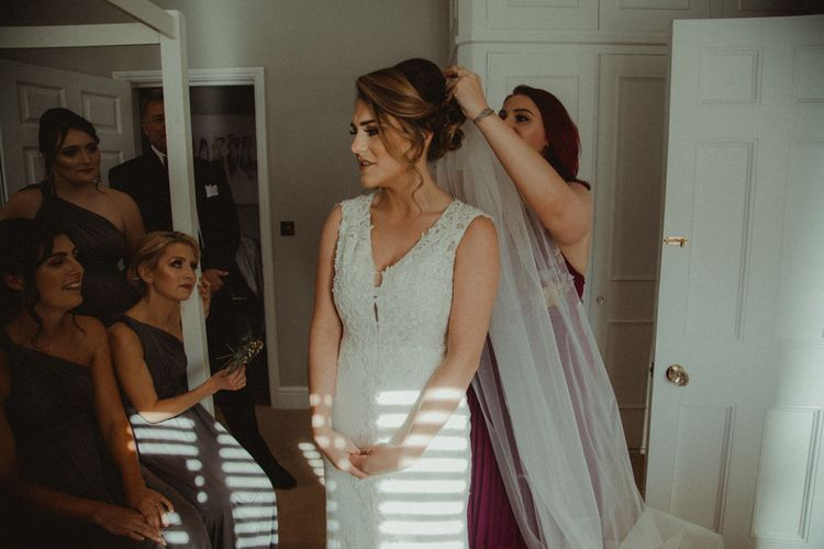 Bridal Morning Preparations with Bride Getting Dress into The Eleni Wed2B Wedding Dress