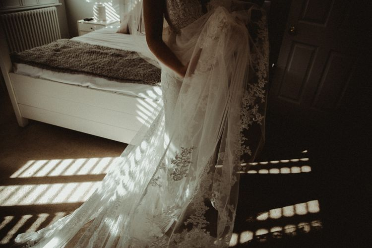 Bride in The Eleni Wed2B Lace Wedding Dress