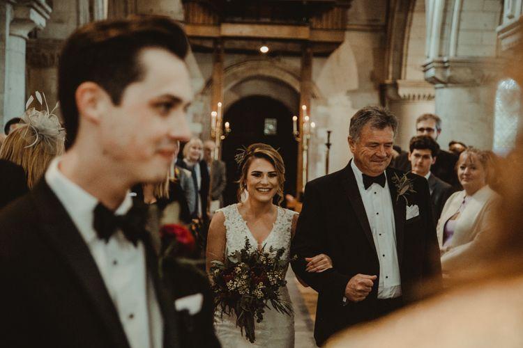 Church Wedding Ceremony Bridal Entrance with Bride in The Eleni Wed2B Lace Wedding Dress