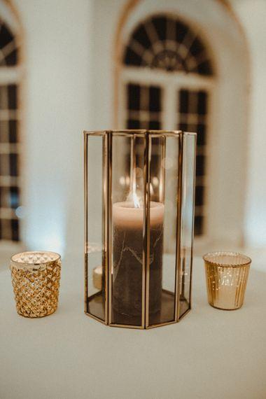 Gold Lantern and Votive Candle Light Wedding Decor