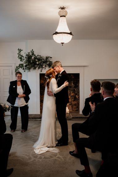 Black tie wedding at Aswarby Rectory with bride in Alexandra Grecco wedding dress