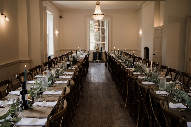 Wedding reception at Aswarby Rectory with greenery runner