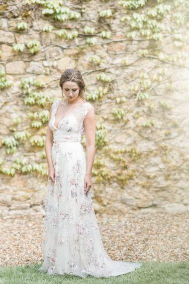 Bride in Stephanie Allin Floral Wedding Dress