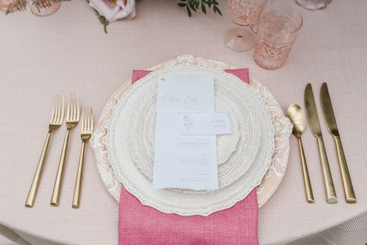 Duchess and Butler Table Place Setting with Gold Cutlery