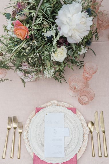 Romantic Place Setting with Elegant Table and Glassware