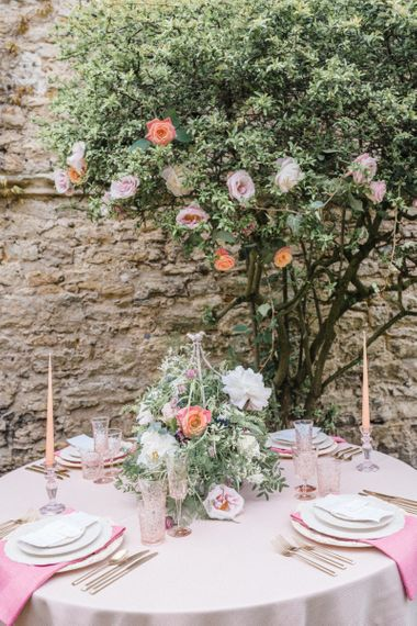 Romantic Table Setting with Floral Centrepiece
