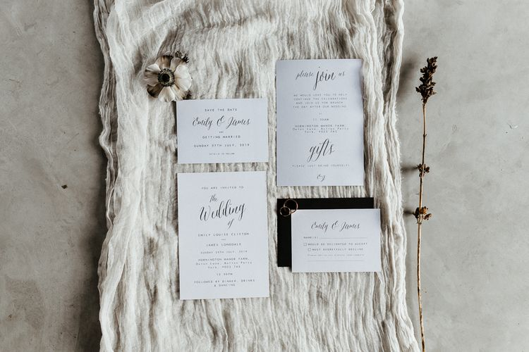 Monochrome Wedding Stationery Suite with Calligraphy Font