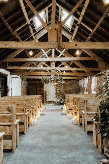 Barn Ceremony Room with Fairy Light Altar