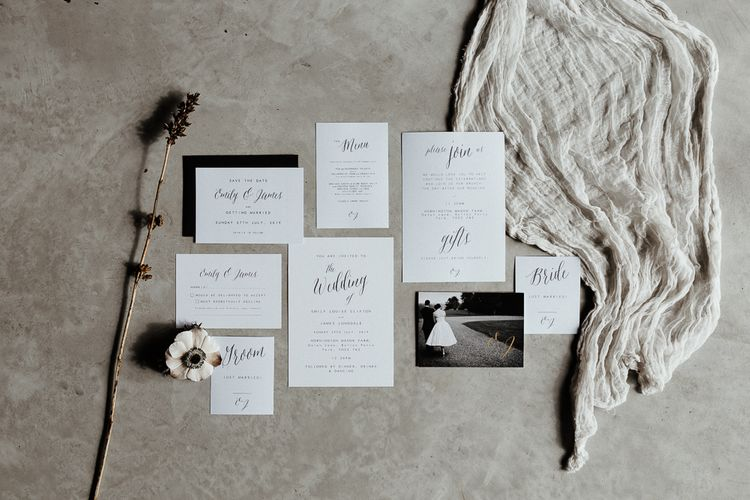 Monochrome Wedding Stationery Suite Including Invitation with Calligraphy Font
