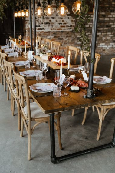 Rustic Tablescape with Edison Bulb Installation and Grazing Table