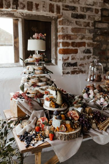 Dessert table with Wedding Cake and Doughnut Tower