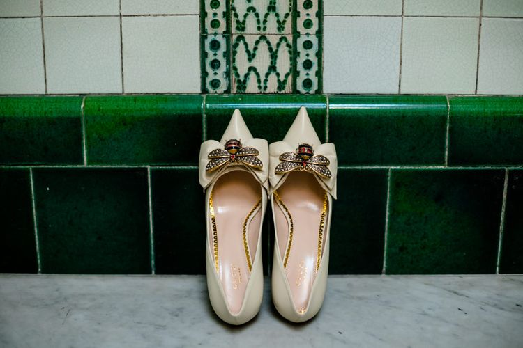 Gucci Bee Brooch Court Shoes