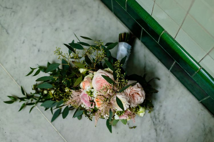Wedding Bouquet with Pink Roses and Green Foliage