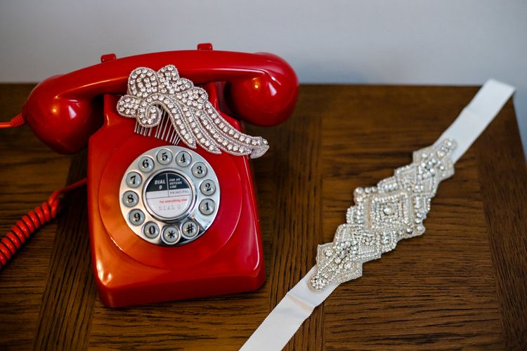 Vintage Red Telephone with Jewel Belt and Headpiece