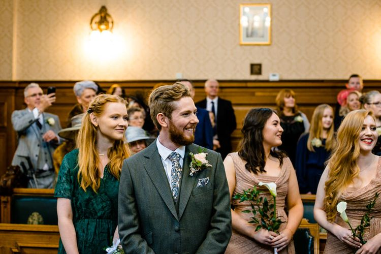 Groom at the Altar During Stockport Town Hall Wedding Ceremony