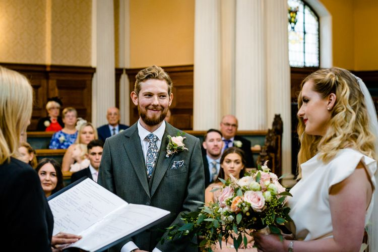 Stockport Town Hall Wedding Ceremony  with Bride in Vintage Wedding Dress and Groom in Tailored Suit