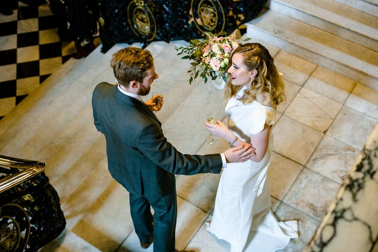 Stockport Town Hall Wedding with Bride in Vintage Wedding Dress and Groom in Tailored Suit