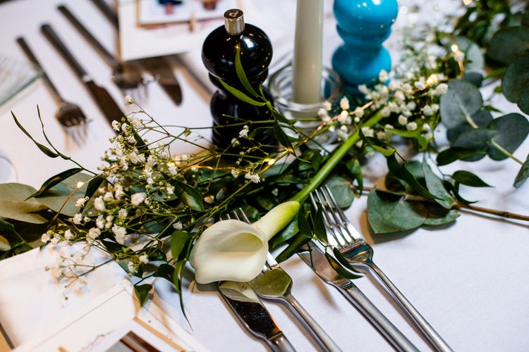 Greenery Table Runner with Foliage, Gypsophila and Lilies
