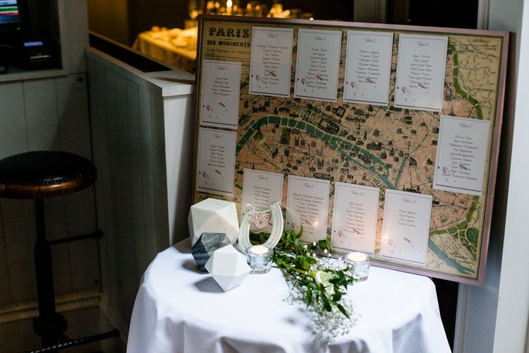 Vintage Map Poster and Hand Illustrated Table Name Table Plan