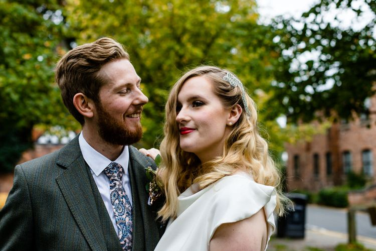 Groom Looking at his beautiful Vintage Bride with Finger Waves and Red Lipstick