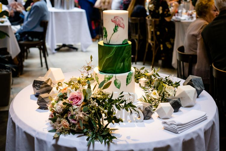 Hand-Painted Wedding Cake by Pink Cocoa