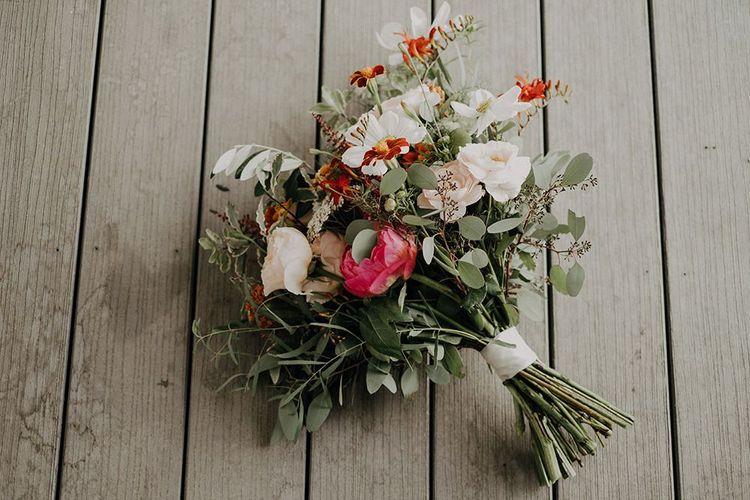 Bright floral wedding bouquet