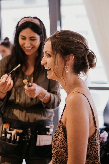 Bridal wedding preparations and makeup