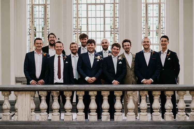 Groom and groomsmen before Islington town hall ceremony