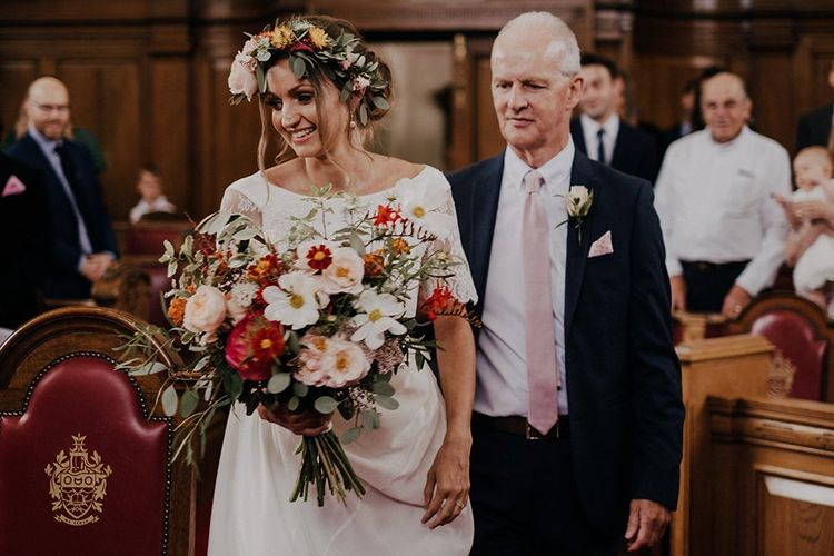 Beautiful bright wedding bouquet and flower crown for bride at Islington town hall ceremony