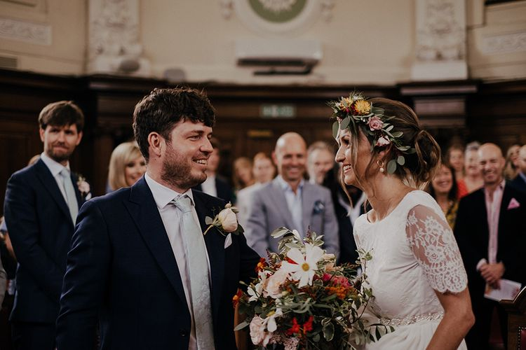 Bride and groom at Islington town hall for wedding ceremony